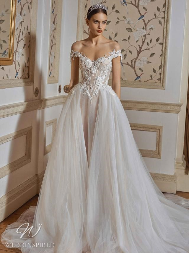 A Galia Lahav 2021 off the shoulder lace and tulle princess ball gown wedding dress