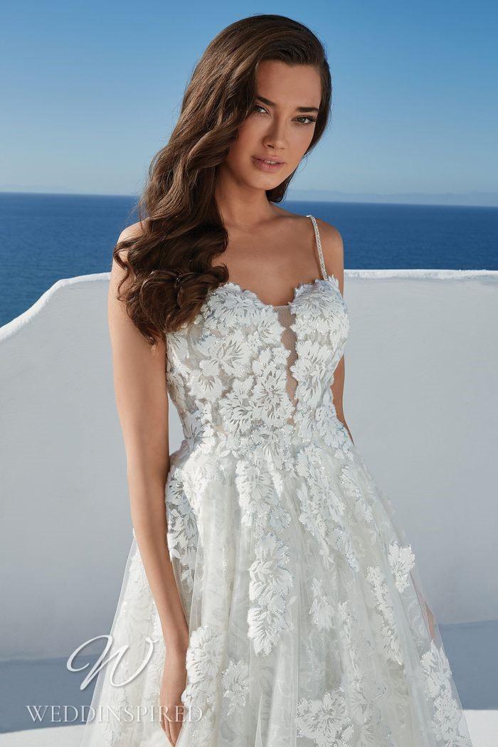 A Justin Alexander 2021 lace A-line wedding dress