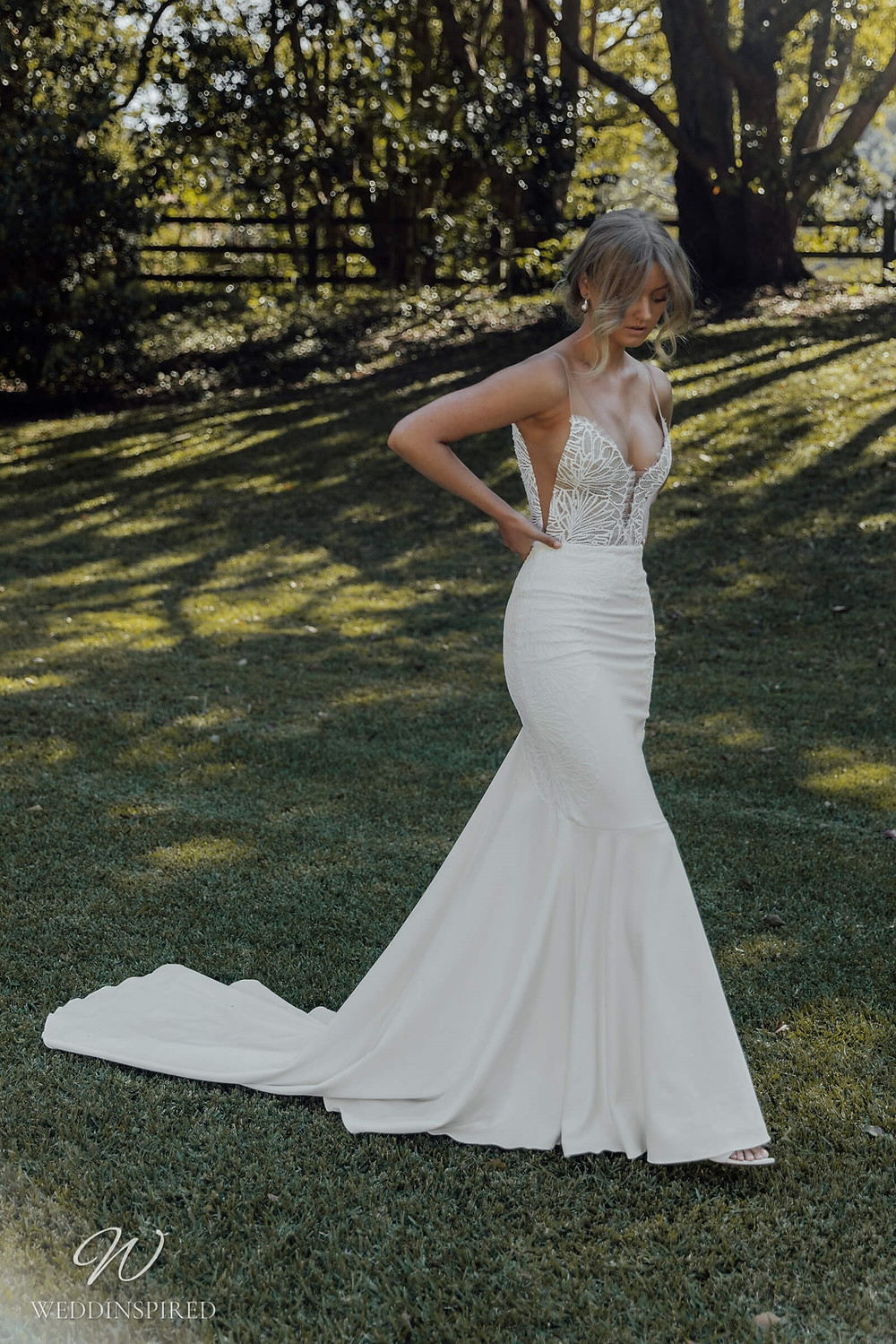 A Grace Loves Lace 2021 simple lace and crepe mermaid fit and flare wedding dress with straps