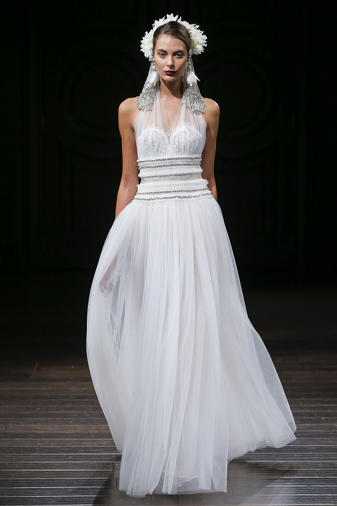 A Naeem Khan halterneck tulle A-line wedding dress