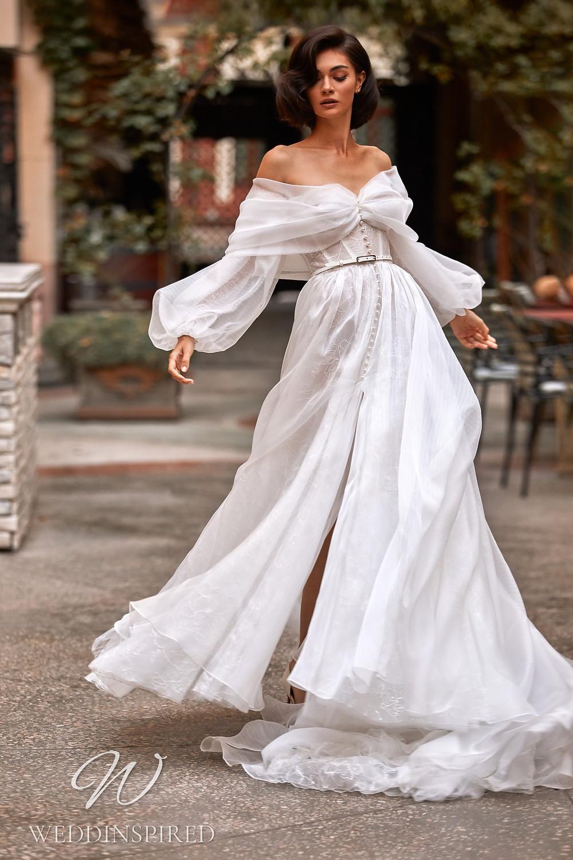 A Daria Karlozi 2021 boho off the shoulder A-line wedding dress