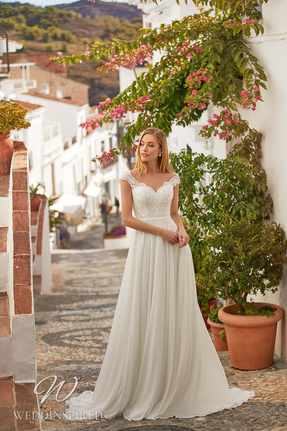 An Essential by Lussano 2021 flowy lace and chiffon A-line wedding dress