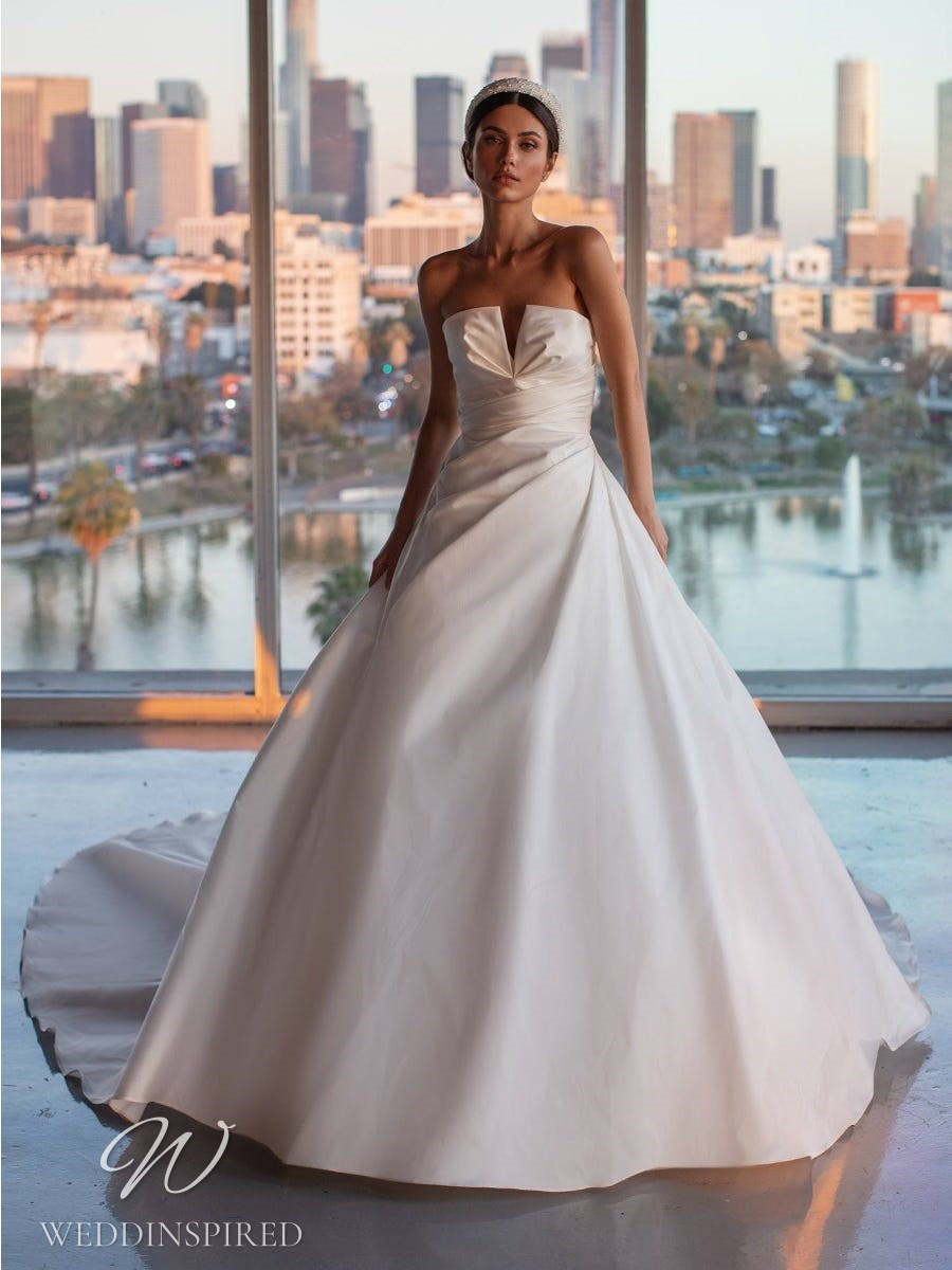 A Pronovias 2021 simple strapless ball gown wedding dress