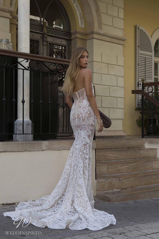 A Berta Priveé No 5 2021 nude strapless lace mermaid wedding dress