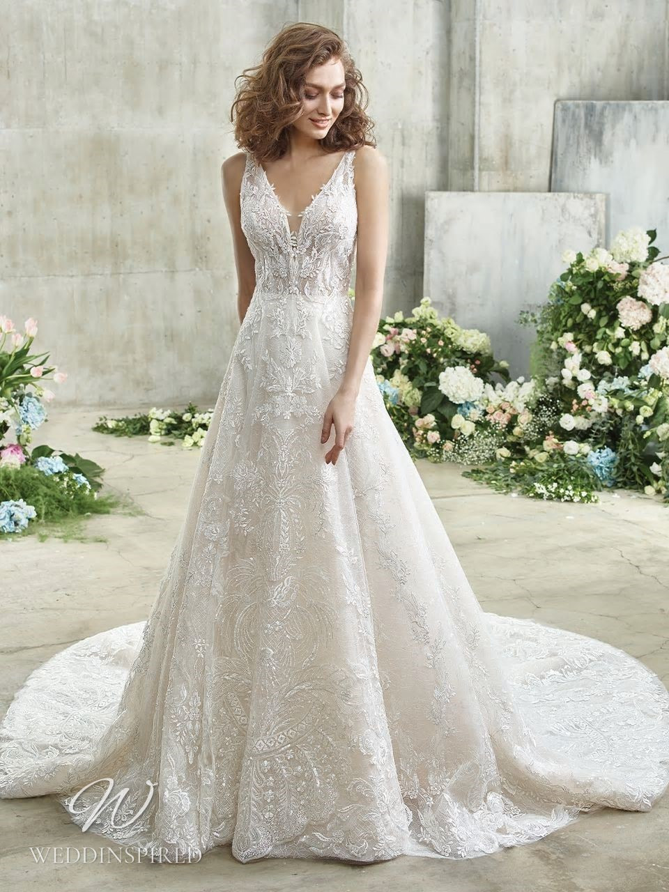 A Badgley Mischka lace A-line wedding dress with a v neckline and a train