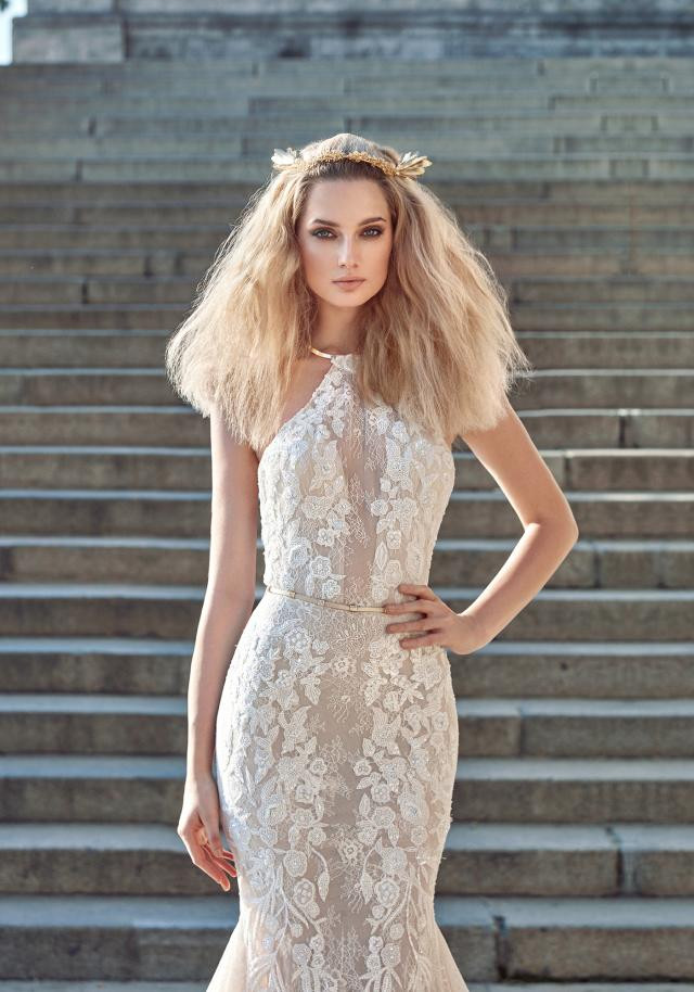A Galia Lahav halterneck lace mermaid wedding dress