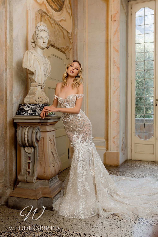 A Berta 2022 lace off the shoulder mermaid wedding dress
