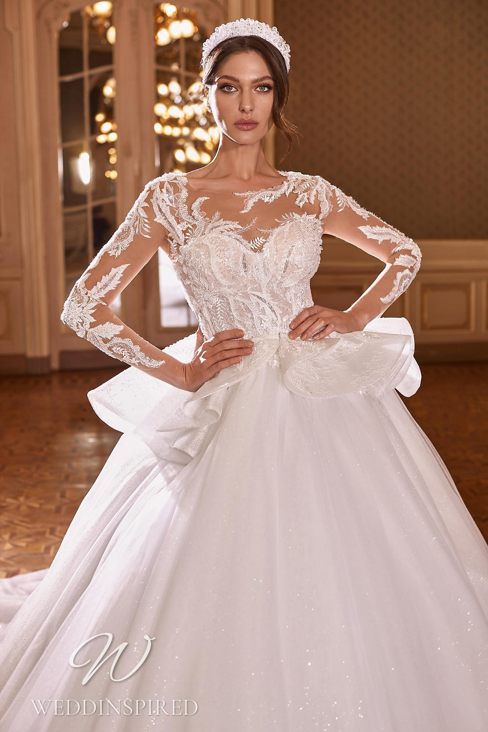 A Ricca Sposa 2022 lace and tulle princess wedding dress with long sleeves