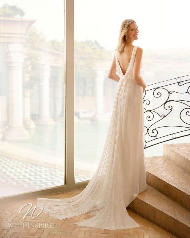 A Rosa Clara 2021 chiffon sheath wedding dress with a low back
