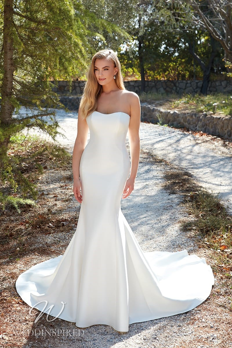 An Eddy K 2022 strapless simple satin mermaid wedding dress