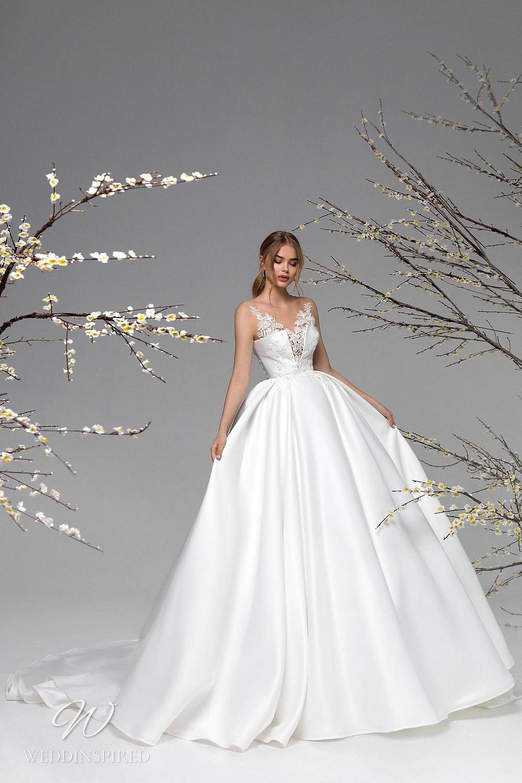 A Ricca Sposa silk satin princess ball gown wedding dress