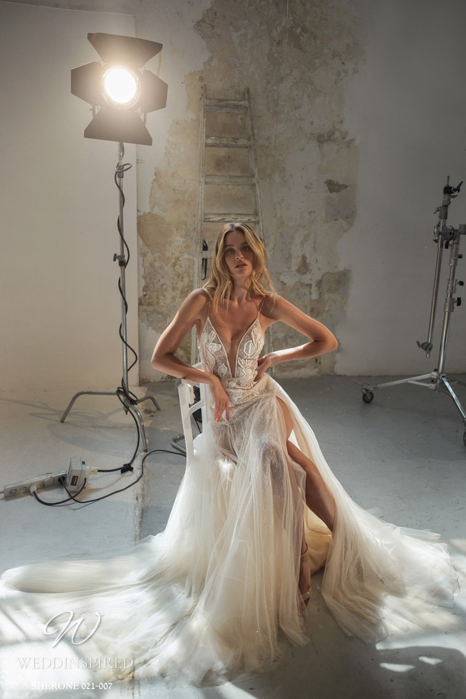 A Gali Karten 2021 nude lace A-line wedding dress with thin straps