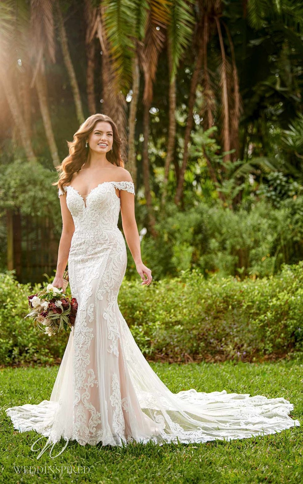 An Essense of Australia off the shoulder lace and tulle mermaid wedding dress with a train