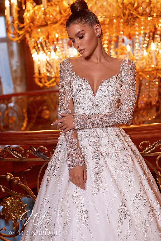 A Pollardi 2021 lace princess wedding dress with long sleeves
