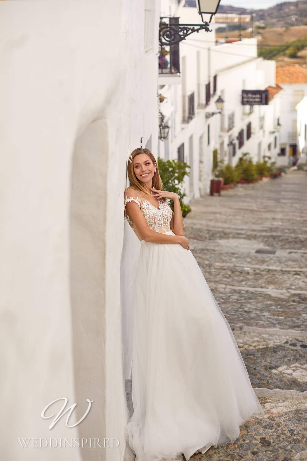 An Essential by Lussano 2021 tulle A-line wedding dress with cap sleeves