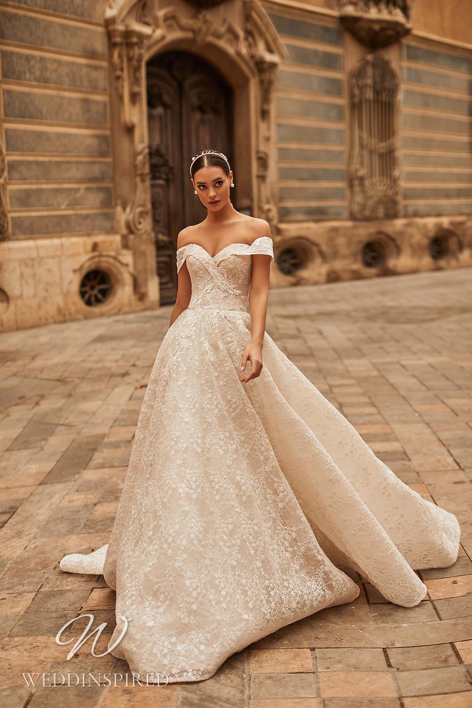 A Royal by Naviblue 2021 blush lace off the shoulder princess wedding dress