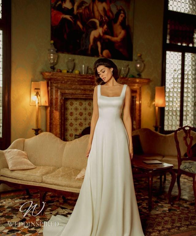 A Rara Avis 2021 simple silk A-line wedding dress with straps