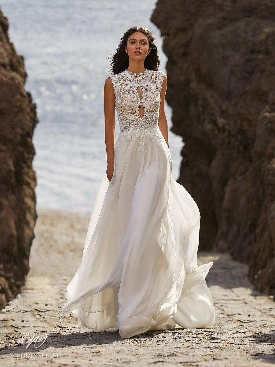 A Pronovias 2021 flowy lace and chiffon A-line wedding dress