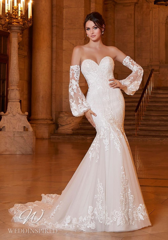 A Madeline Gardner strapless lace mermaid wedding dress