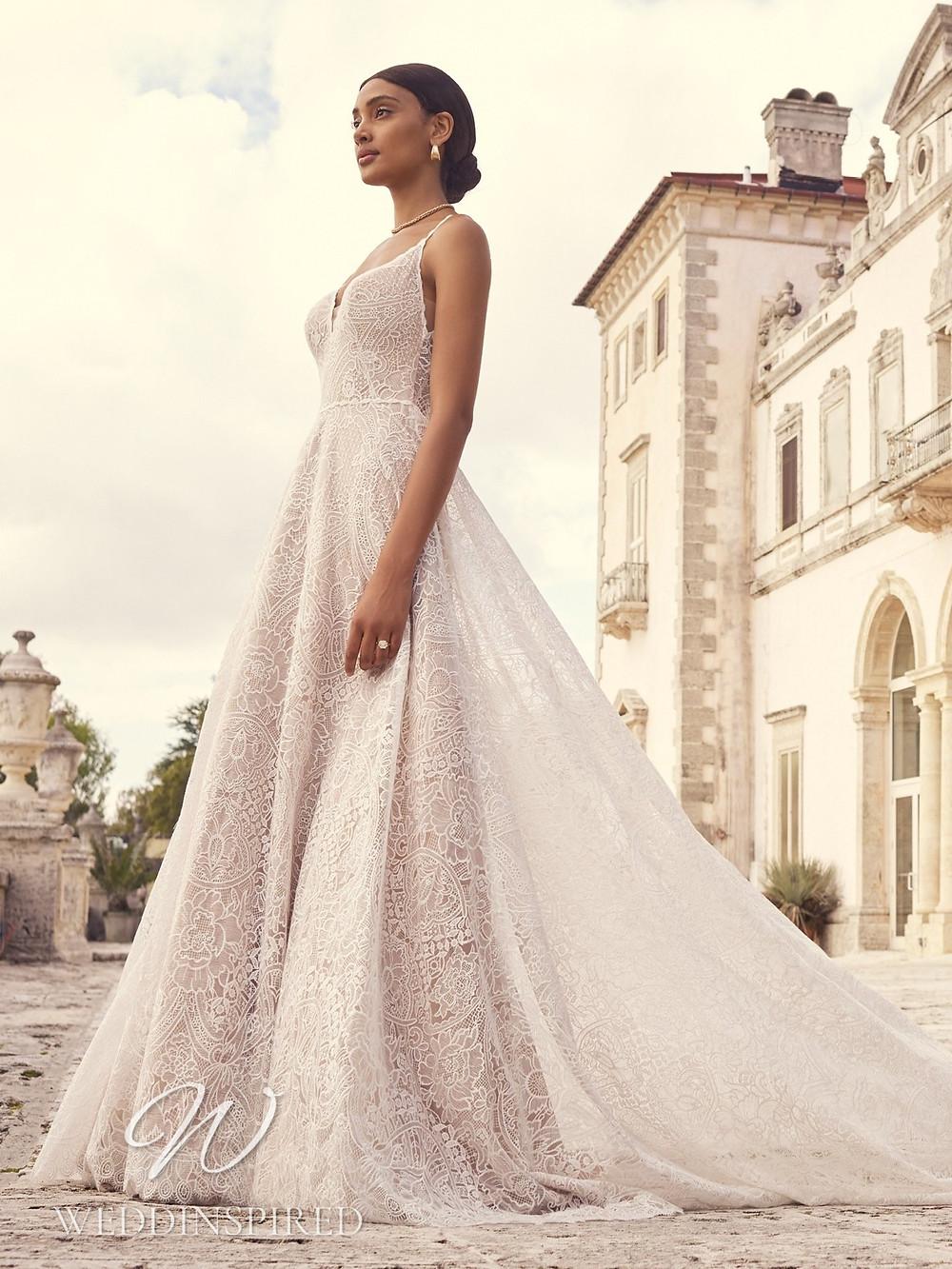 A Sottero & Midgley 2021 blush lace A-line wedding dress