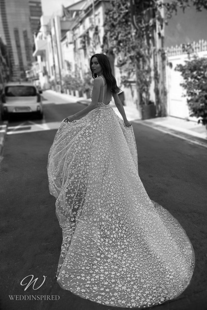 An Eden Aharon 2020 sexy sheer floral blush mesh A-line wedding dress with a v neckline