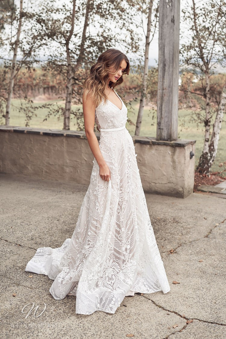 An Anna Campbell 2020 romantic, v neck lace A-line wedding dress