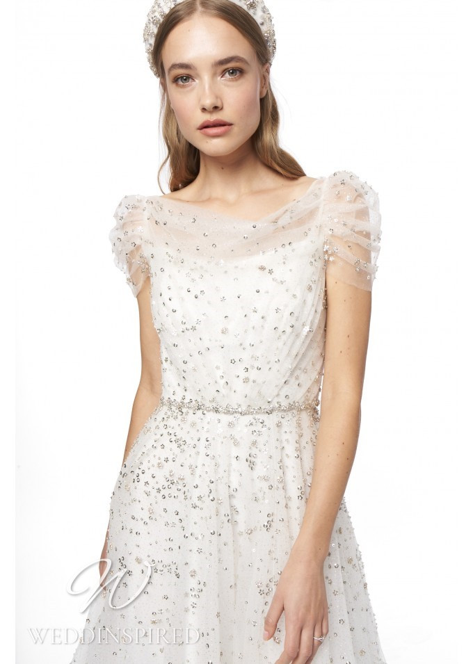A Jenny Packham 2021 sparkly off the shoulder tulle A-line wedding dress