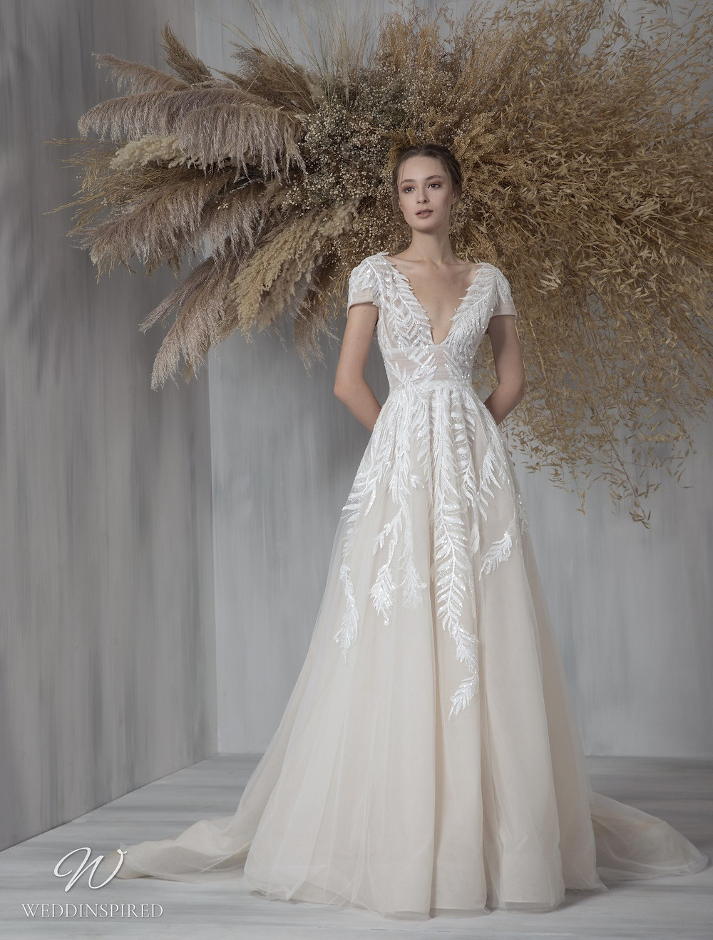 A Tony Ward 2021 tulle A-line wedding dress with cap sleeves, a v neckline and embroidery