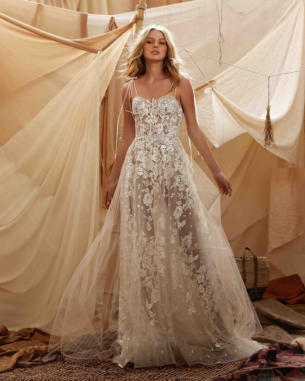 A Berta 2021 A-line, soft flowy tulle wedding dress with embroidery and straps