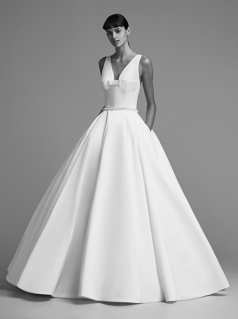 A Viktor & Rolf simple crepe ball gown wedding dress with pockets