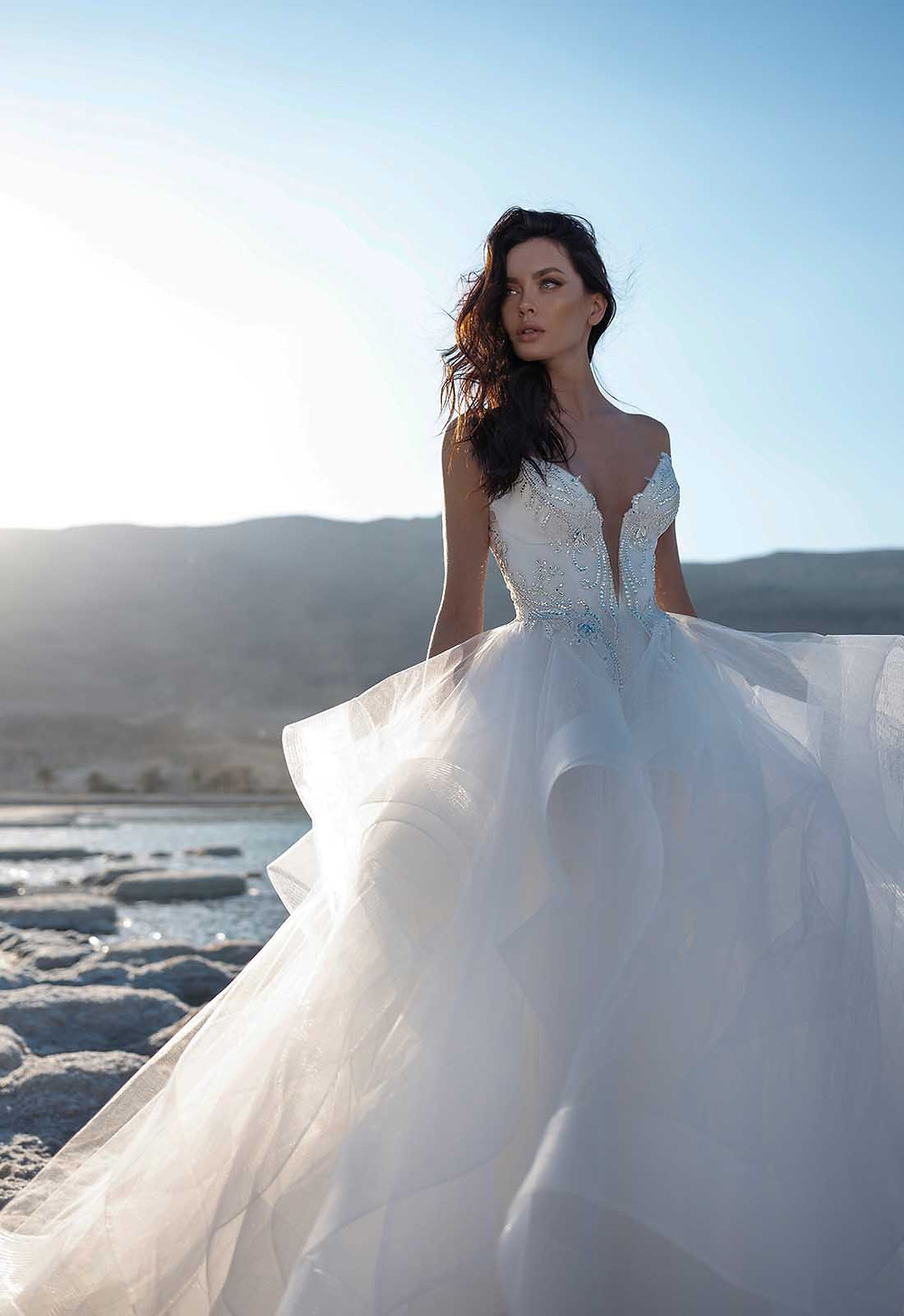 A Pnina Tornai strapless ball gown wedding dress with a layered tulle skirt, sweetheart neckline and crystals