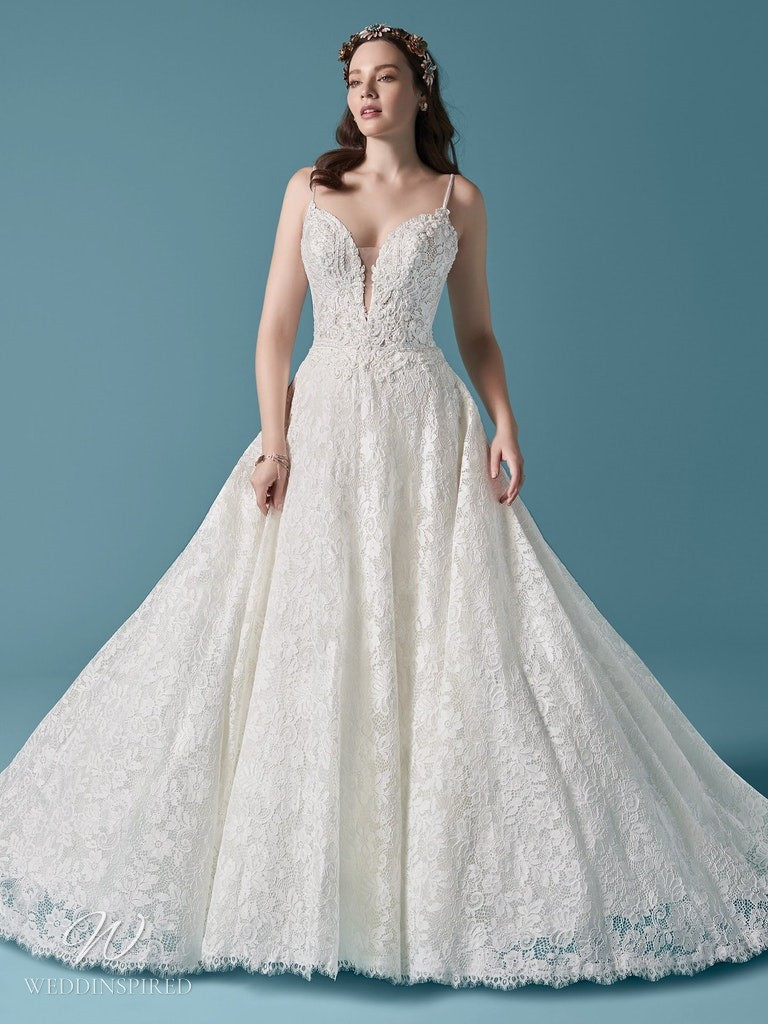 A Maggie Sottero 2021 lace ball gown wedding dress with straps