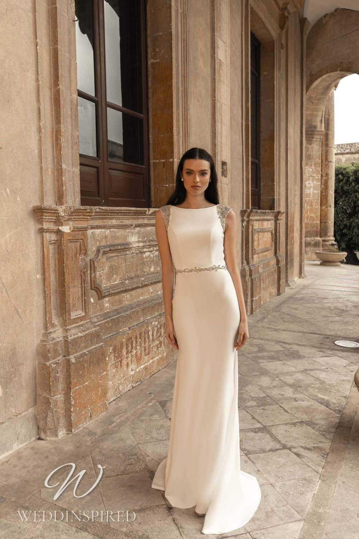 A Lussano 2021 modest satin sheath wedding dress