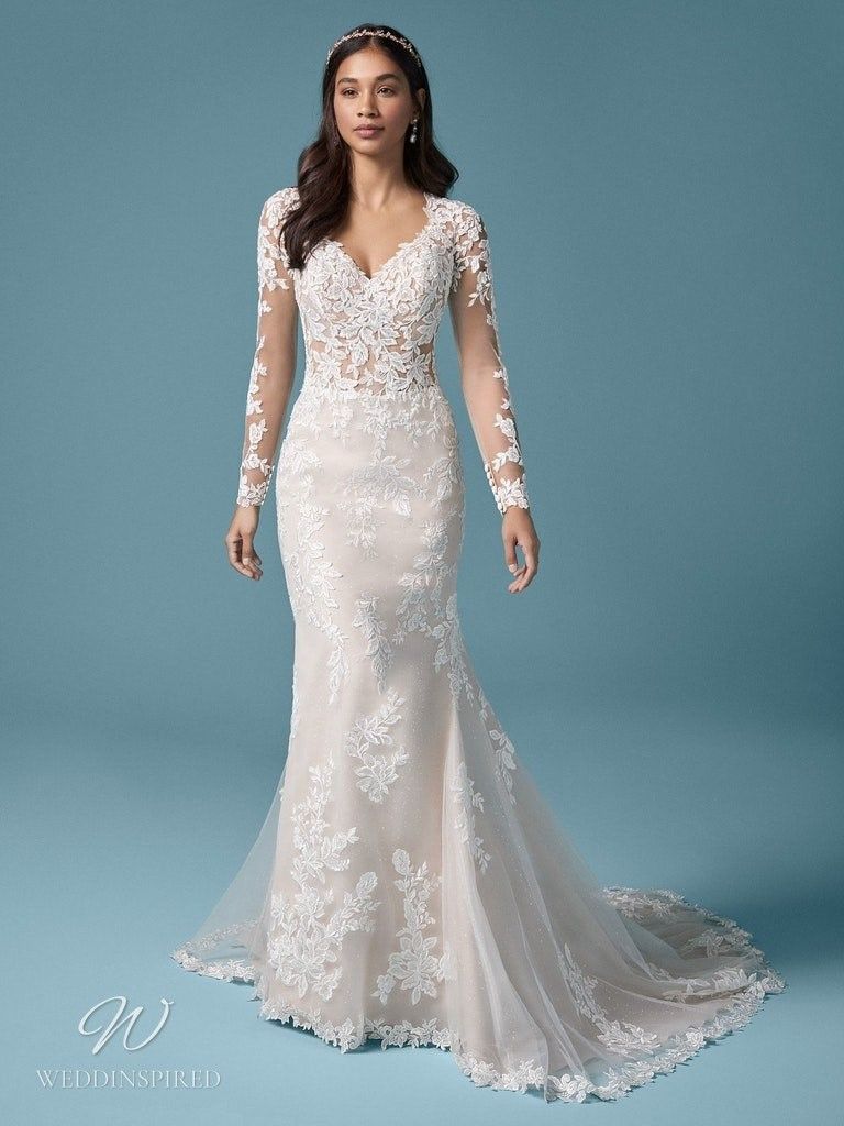 A Maggie Sottero 2021 lace mermaid wedding dress with long illusion sleeves