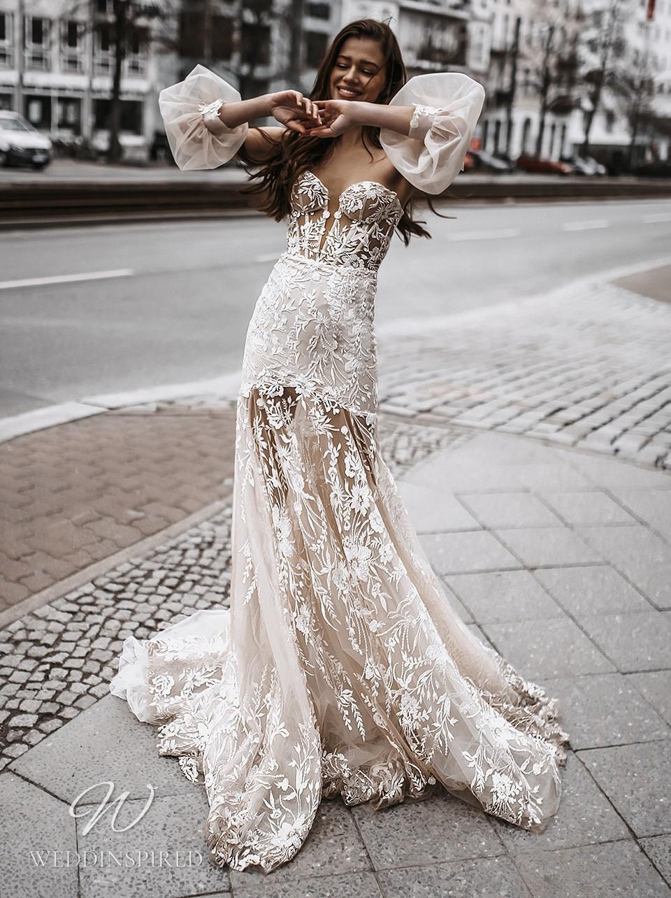 A Galia Lahav 2022 strapless lace mermaid wedding dress