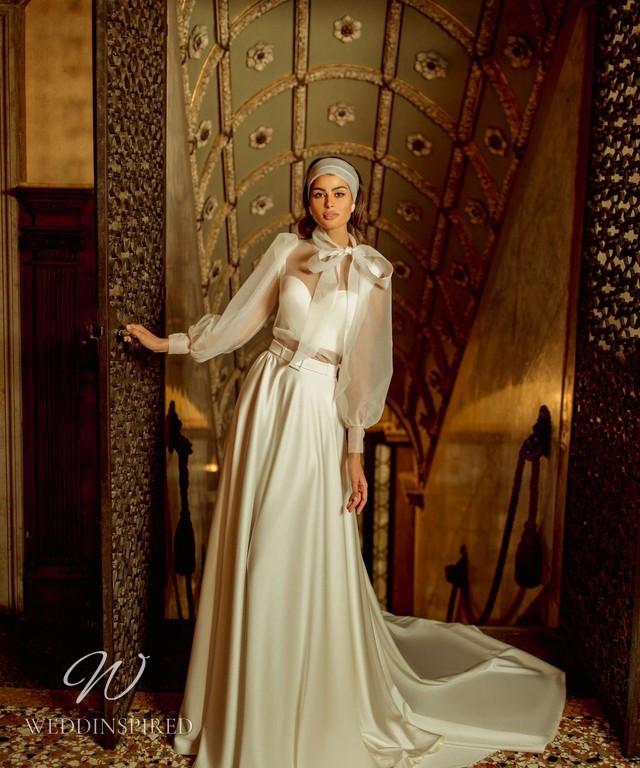 A Rara Avis 2021 simple strapless ivory silk 2 piece A-line wedding dress