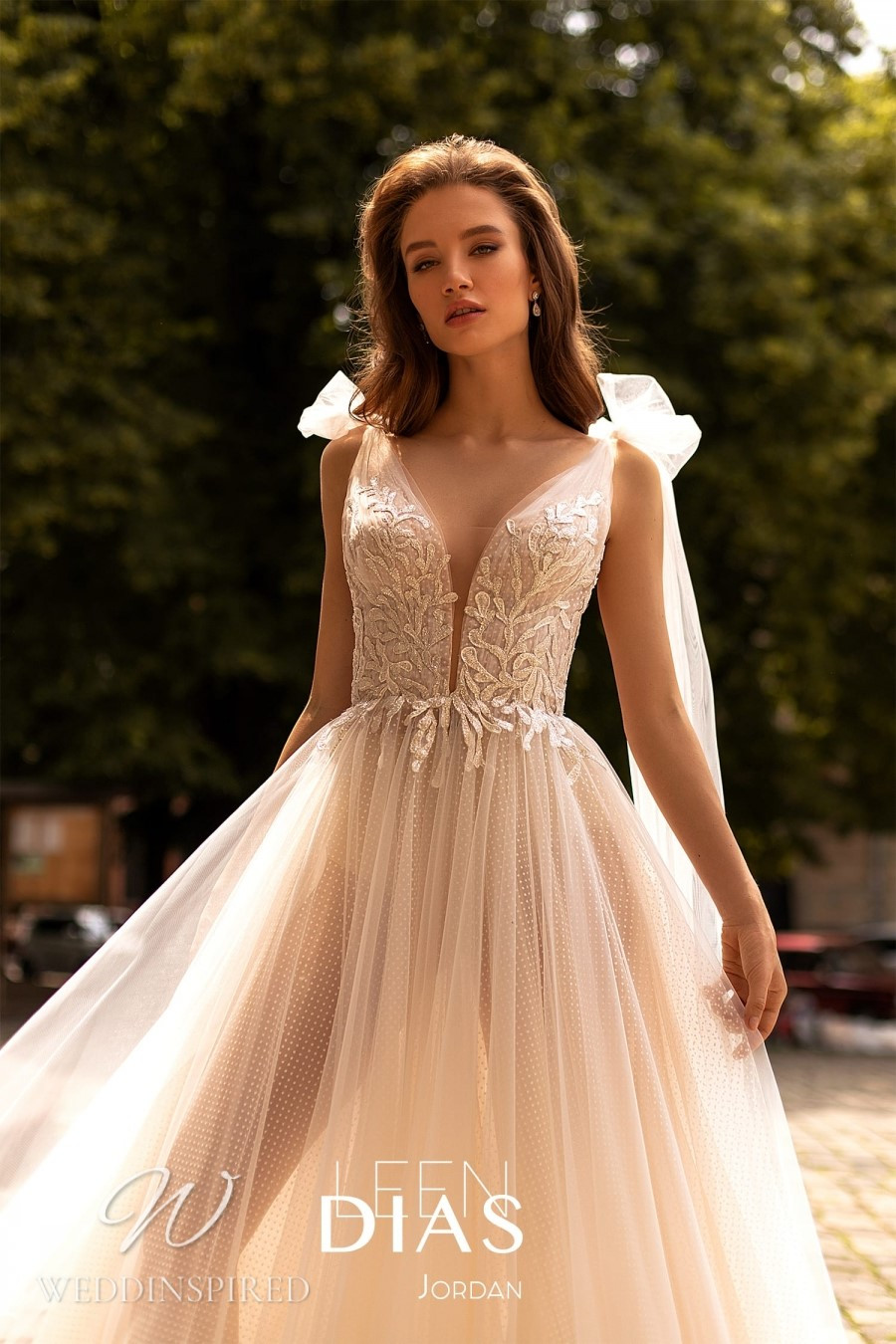 A Leen Dias 2021 blush tulle A-line wedding dress
