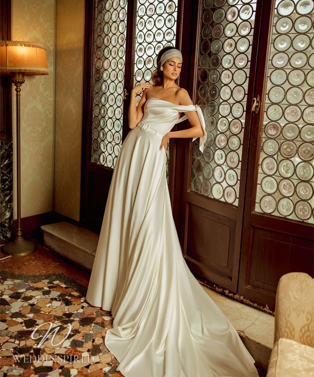 A Rara Avis 2021 simple vintage style off the shoulder silk A-line wedding dress
