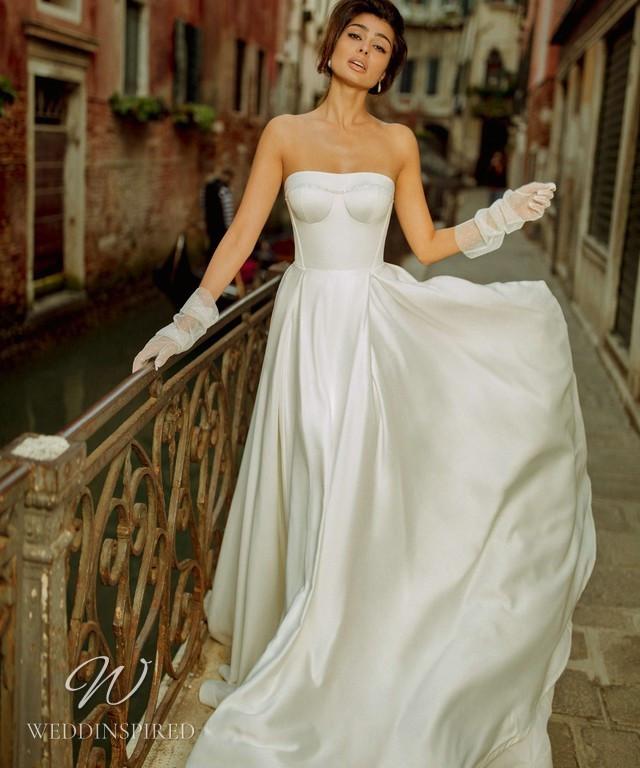 A Rara Avis 2021 simple strapless silk A-line wedding dress