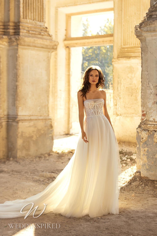 An Eva Lendel 2021 strapless tulle A-line wedding dress