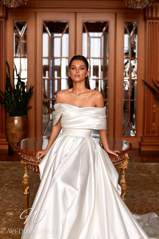 A Pollardi 2021 off the shoulder satin A-line wedding dress