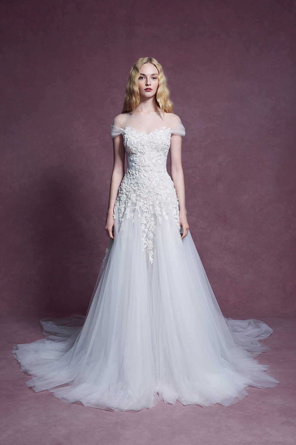 A Marchesa 2020 off the shoulder A-line wedding dress with tulle skirt, lace bodice and beading and embroidery
