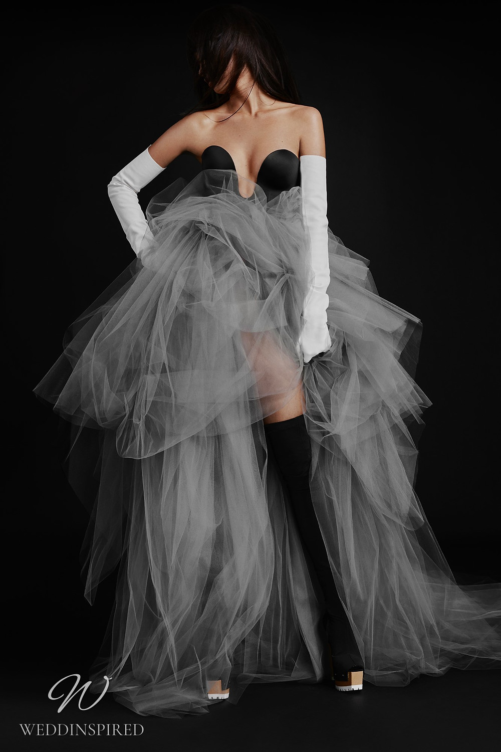 A Vera Wang Fall 2021 black satin and tulle A-line wedding dress