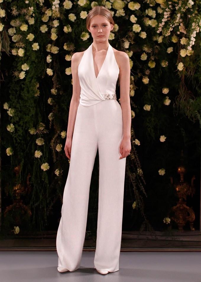 A Jenny Packham halterneck wedding jumpsuit or pantsuit