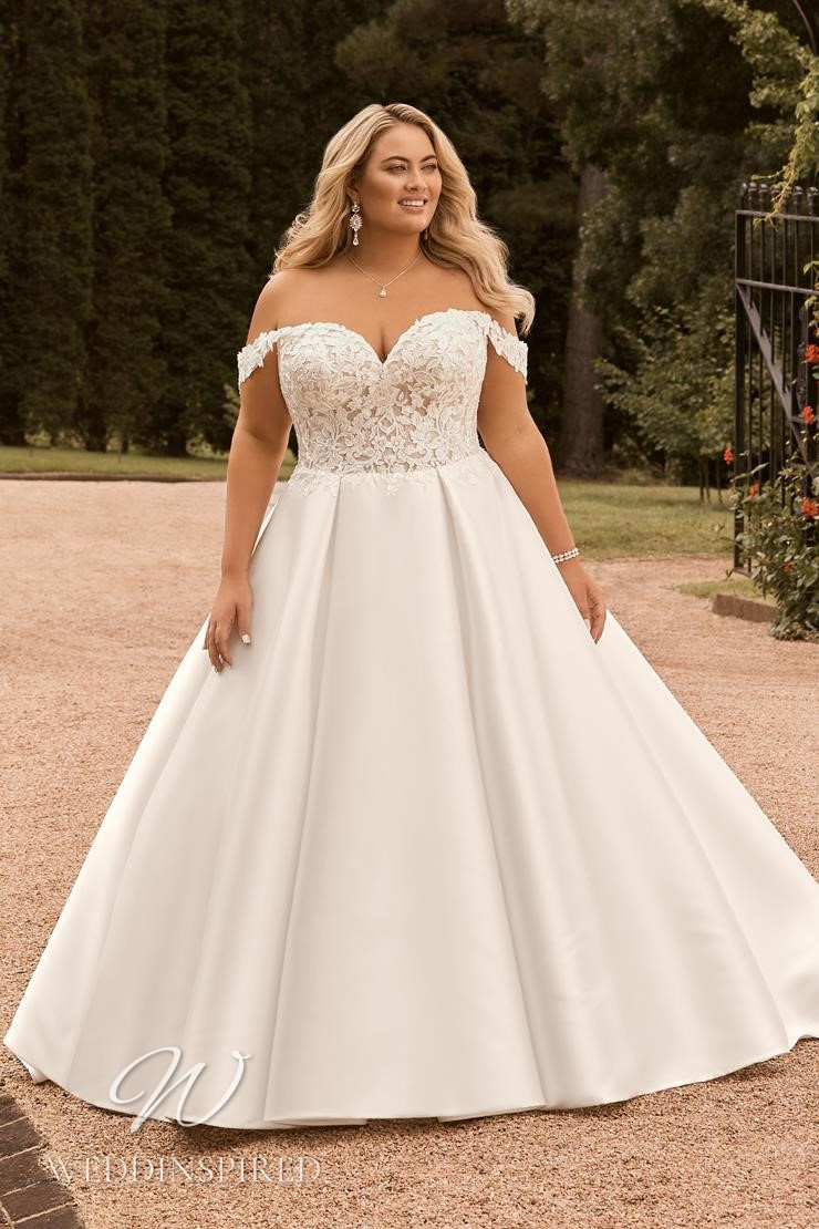 A Sophia Tolli 2021 plus size off the shoulder lace and satin princess wedding dress