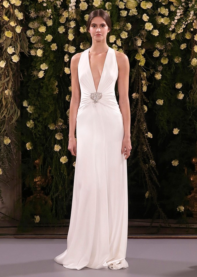 A Jenny Packham halterneck sheath wedding dress