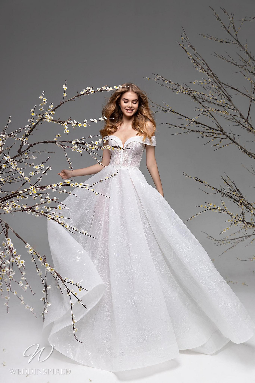 A Ricca Sposa off the shoulder mesh ball gown wedding dress