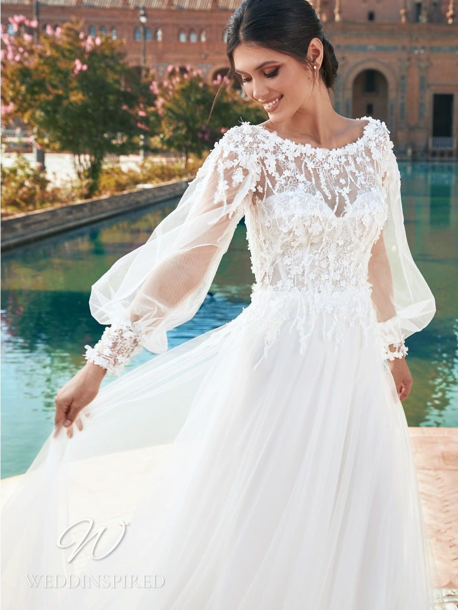 A Marchesa for Pronovias 2022 flowy boho tulle A-line wedding dress with long sleeves