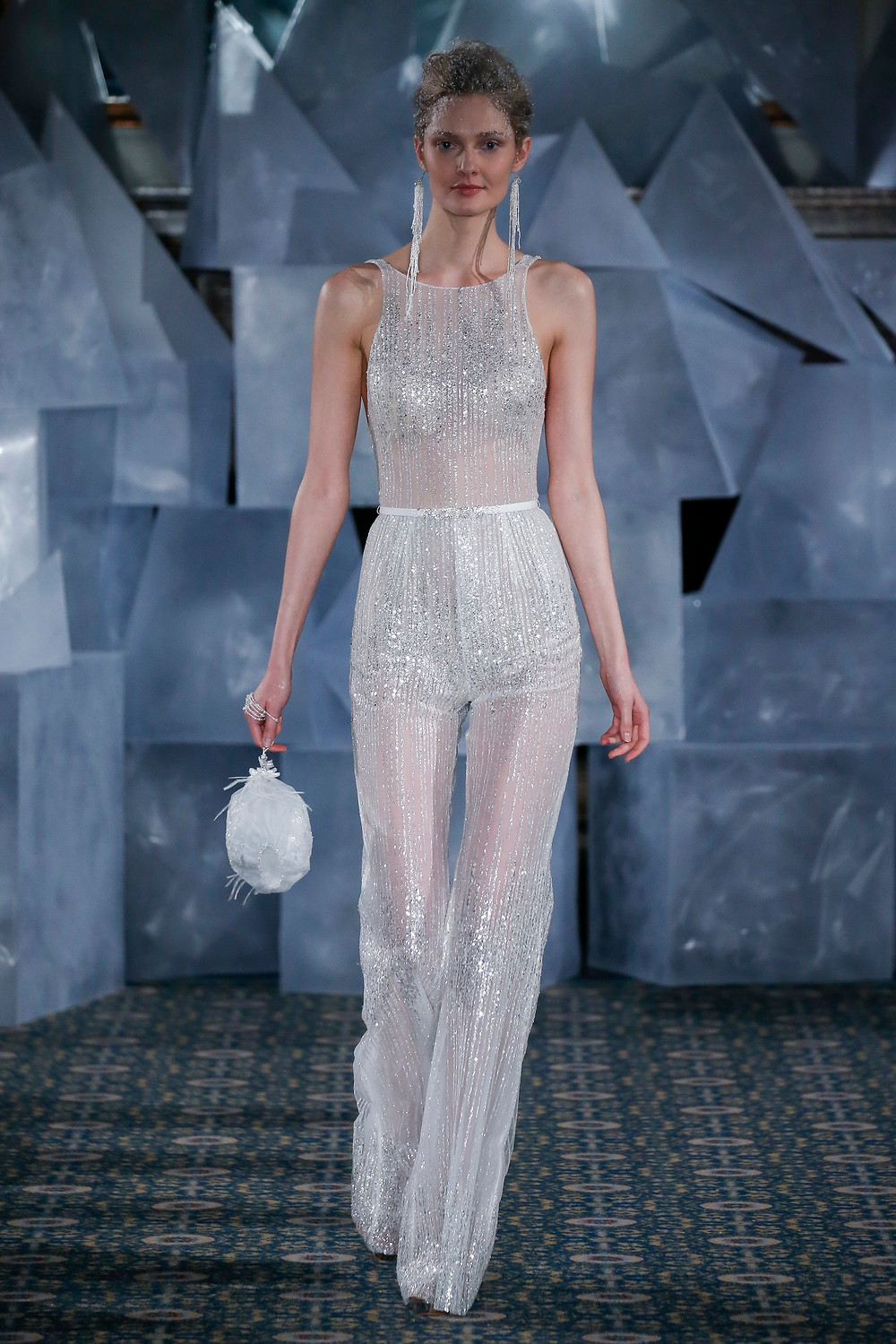 A Mira Zwillinger sparkly wedding jumpsuit or pantsuit
