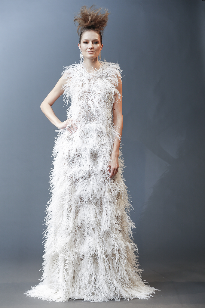 A Naeem Khan feather A-line wedding dress